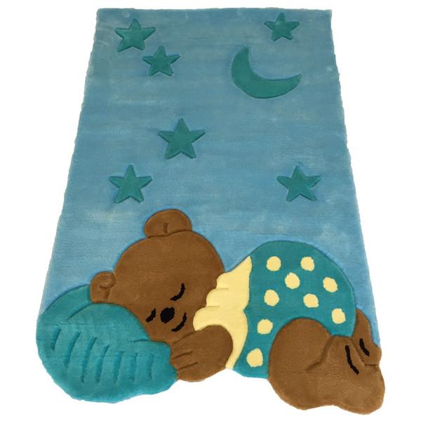 فرش نیمه دستی و برجسته پارس نگین مهام مدل خرس خوابالو آبی