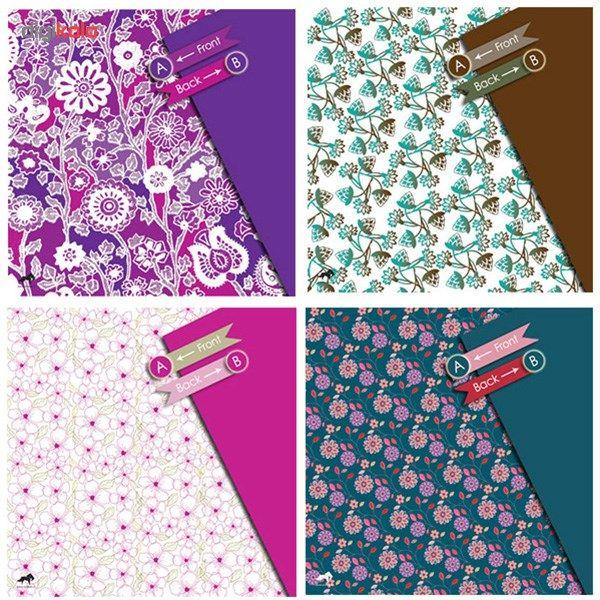 بسته کاغذ اوریگامی اوریمان طرح نقوش گلدار  Oriman Floral Patterns Origami Papers