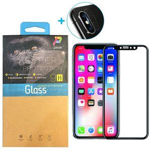 محافظ صفحه نمایش و لنز تمام چسب شیشه ای پیکسی مدل 6D  مناسب برای گوشی اپل آیفون X