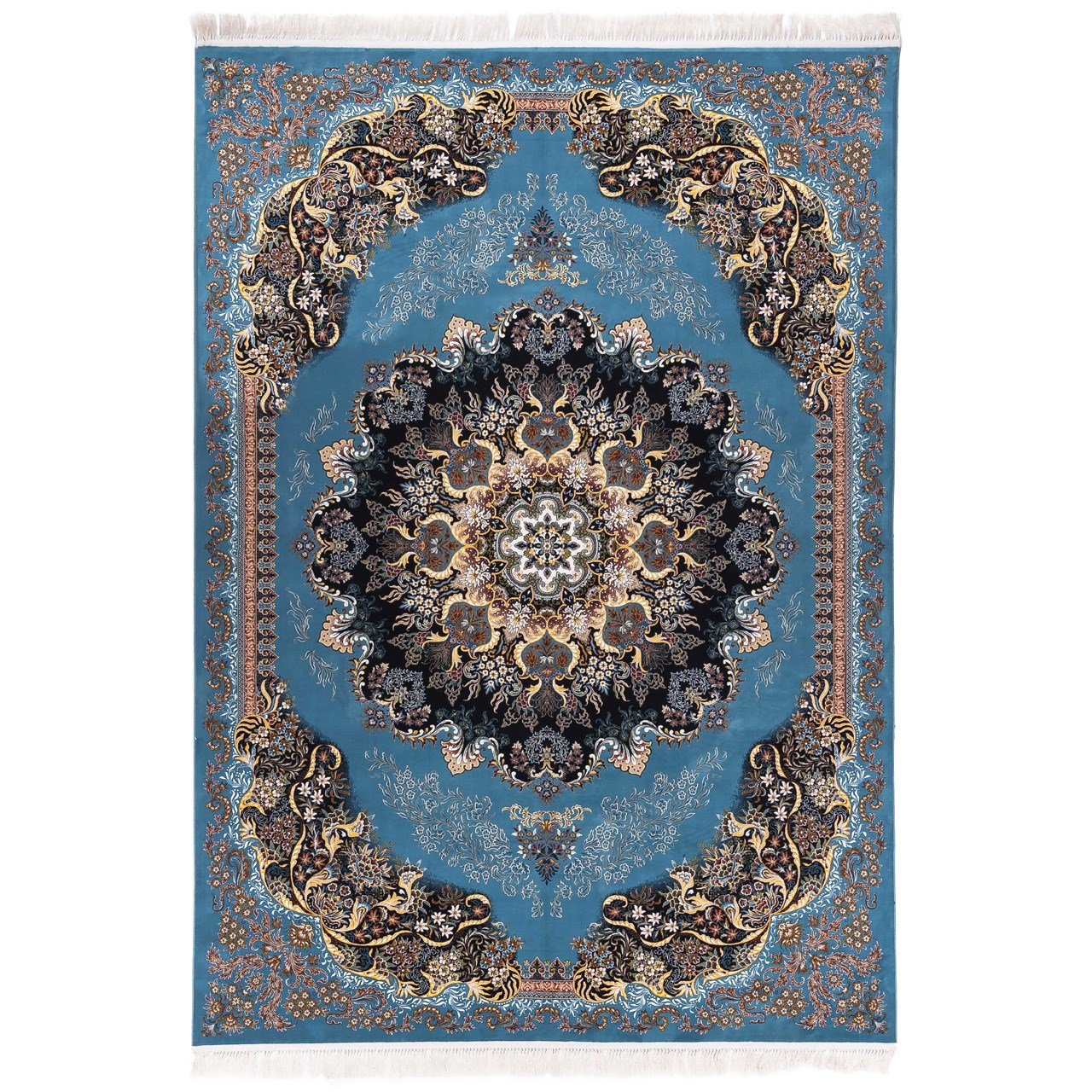 فرش ماشینی دنیای فرش  طرح گیسو زمینه آبی