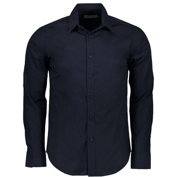 پیراهن آستین بلند سرمه ای مردانه پبونی مدل CB