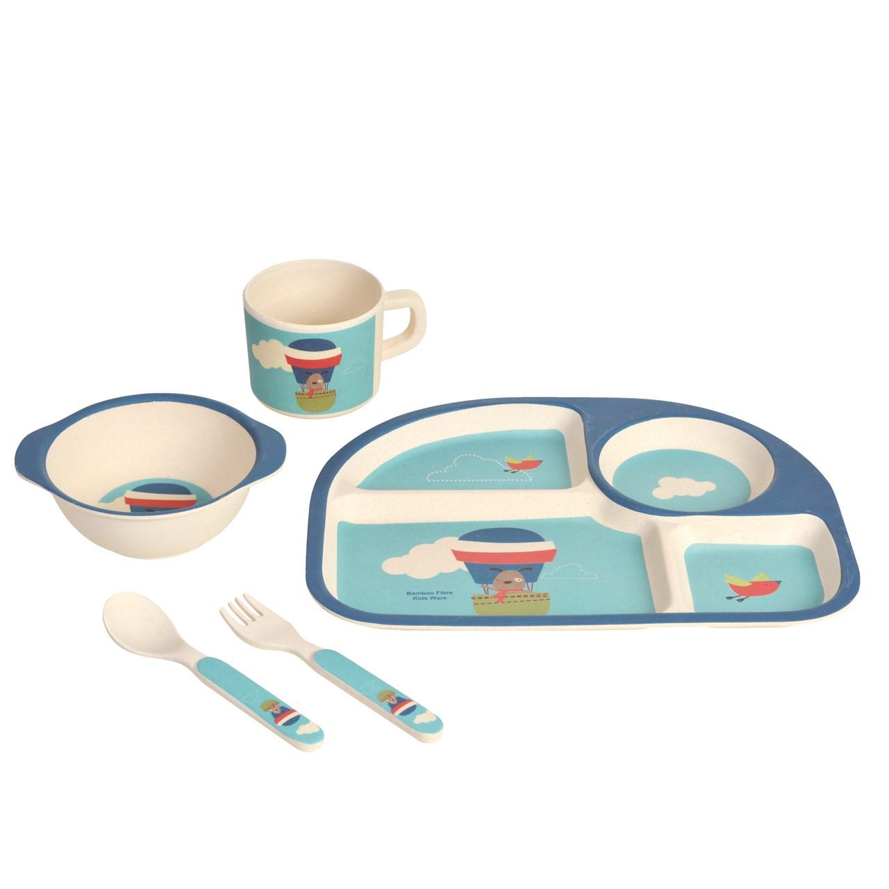 ست 5 تکه ظرف غذای کودک نورینو مدل بالن آبی