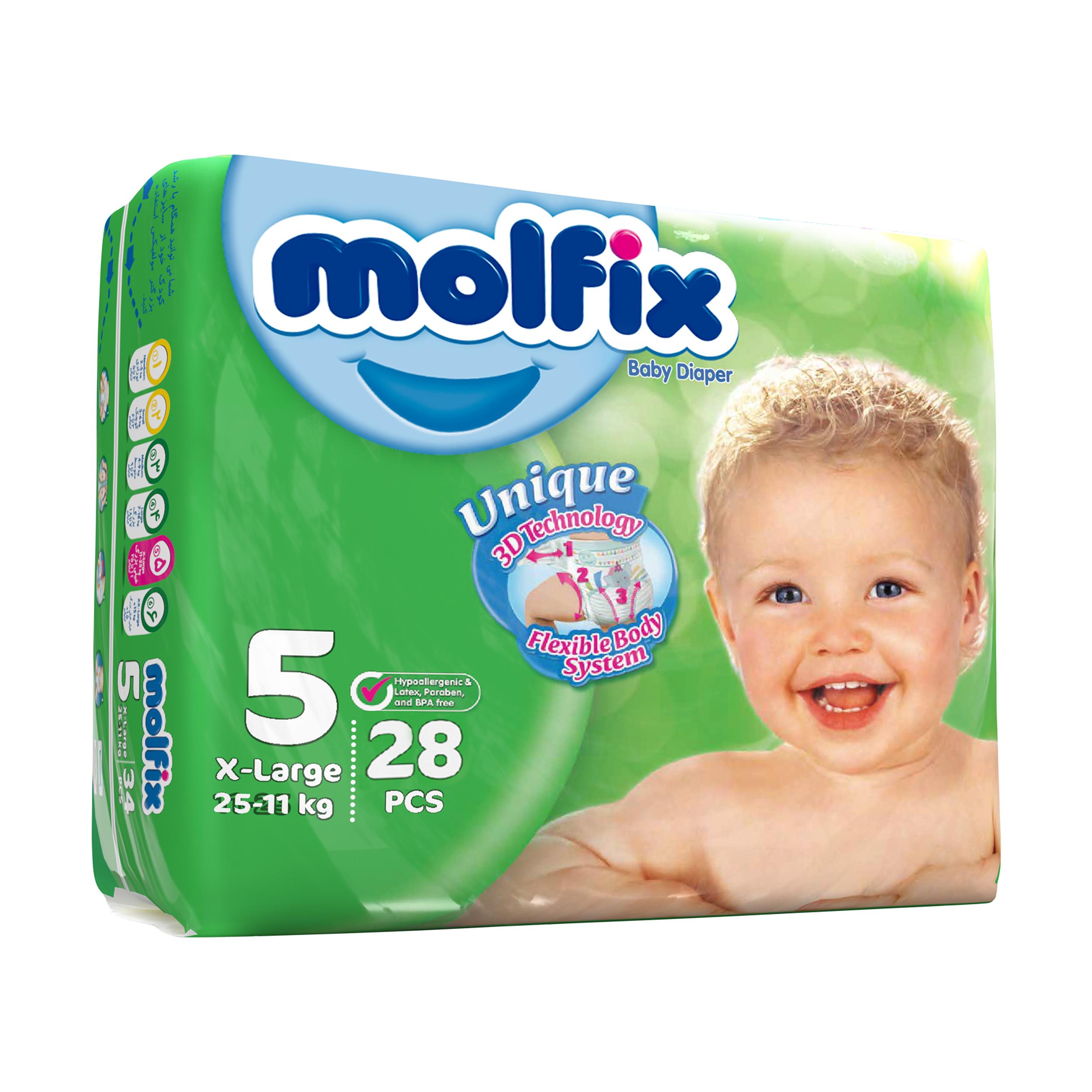 پوشک کودک مولفیکس سایز 5 بسته 28 عددی