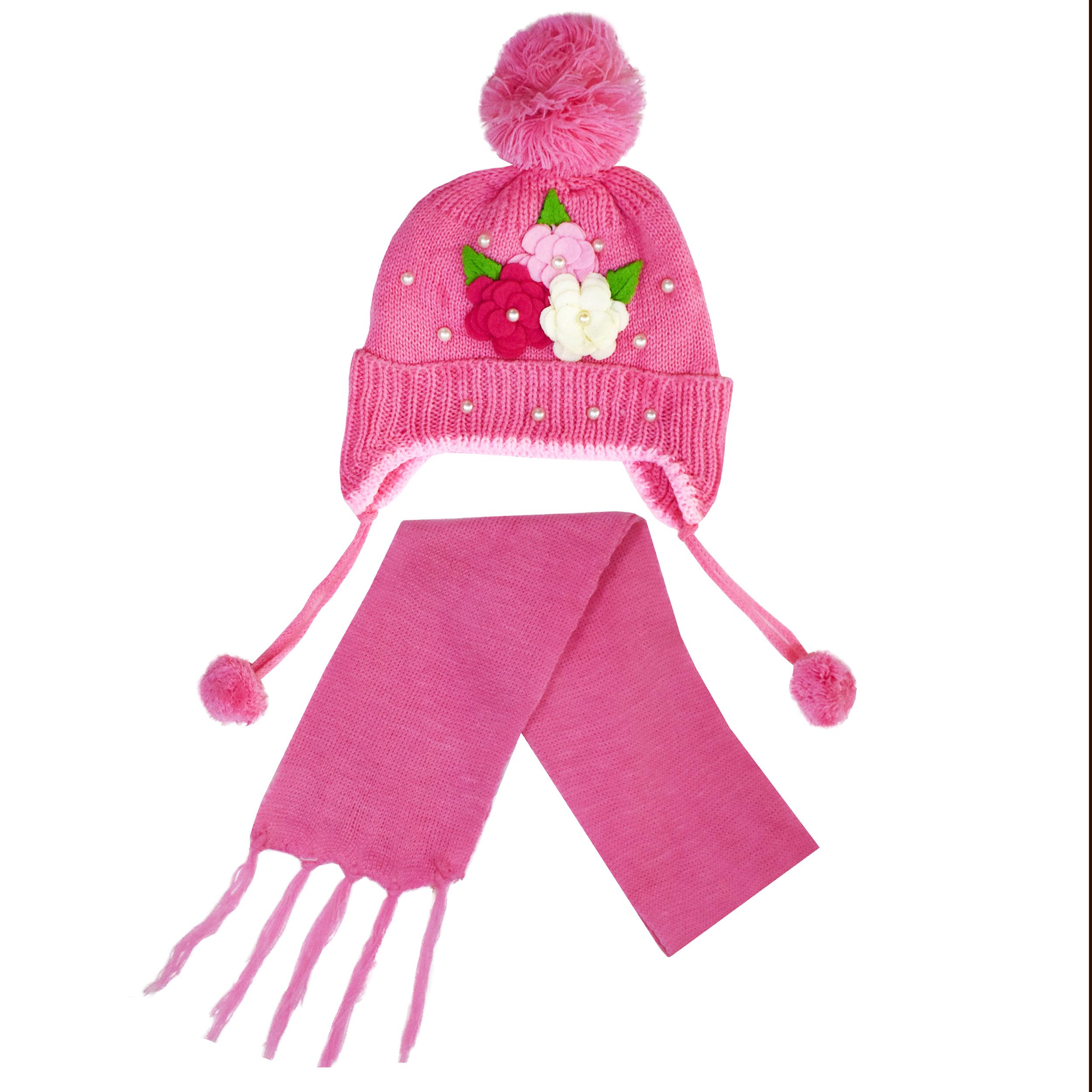 ست کلاه و دستکش بافتنی دخترانه مدل Memol 568