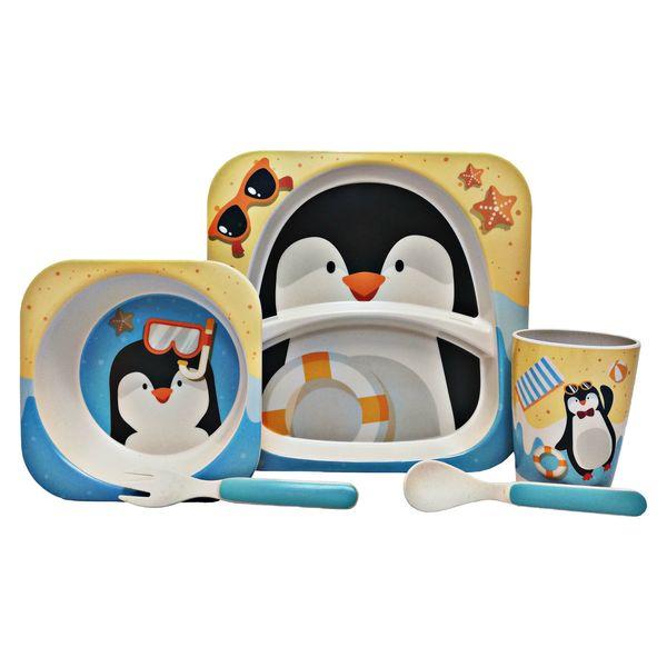 ظرف غذای 5 تکه کودک طرح پنگوئن مدل 3045