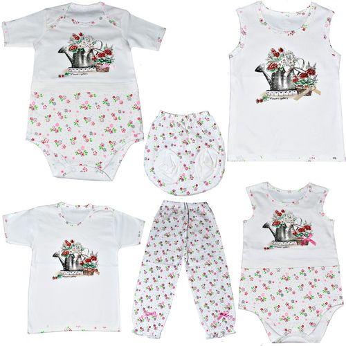 ست نوزادی 6 تکه نیروان طرح گل و آبپاش