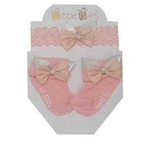 ست هدبند و جوراب نوزادی مدل پاپیون رنگ گلبهی