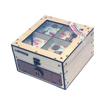 جعبه لوازم خیاطی چوبی  فامسین مدل دکوری دار کشویی  بزرگ