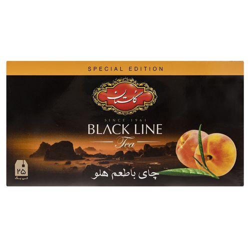 چای سیاه کیسه ای گلستان با طعم هلو پک 25 عددی