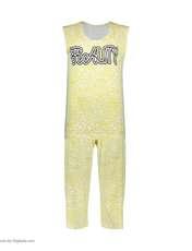 ست تاپ و شلوارک زنانه طرح بیوتی کد 0227 رنگ زرد -  - 2