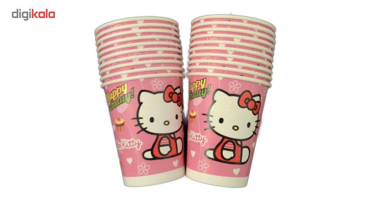 پیش دستی و لیوان یکبار مصرف مدل hello kitty مجموعه 40 عددی main 1 2