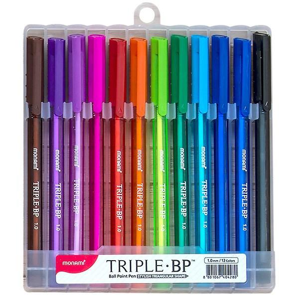خودکار 12 رنگ مونامی در سینی پلاستیکی