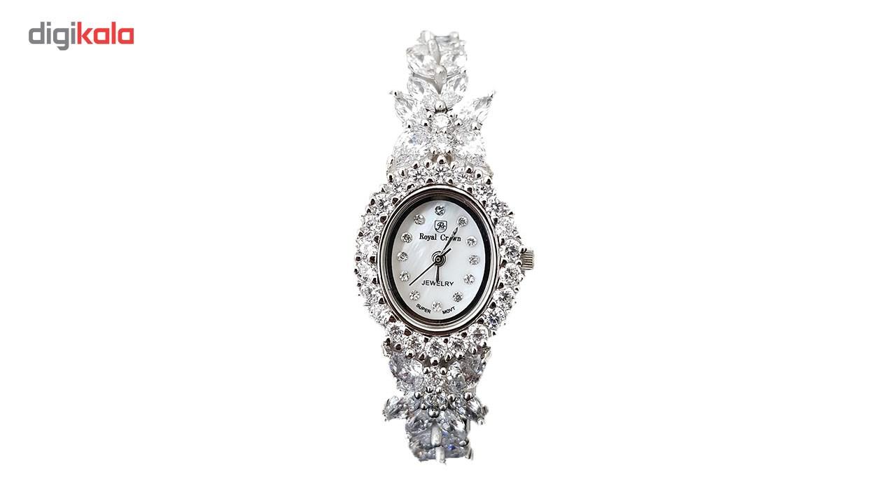 ساعت مچی عقربه ای زنانه نقره ترمه مدل Royal crown a1
