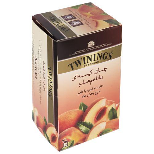چای سیاه کیسه ای توینینگز با طعم هلو بسته 20 عددی