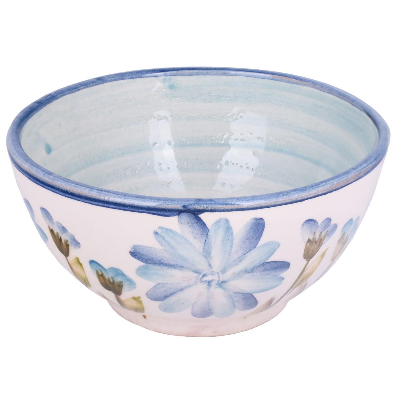 عکس کاسه آبگوشت خوری سفالی ملکه خورشید مدل گل های آبی مدل 00-03