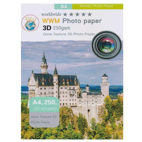 کاغذ عکس دابلیو دابلیو ام سه بعدی دورو مدل 250g مدل Glow سایز A4 بسته 40 عددی