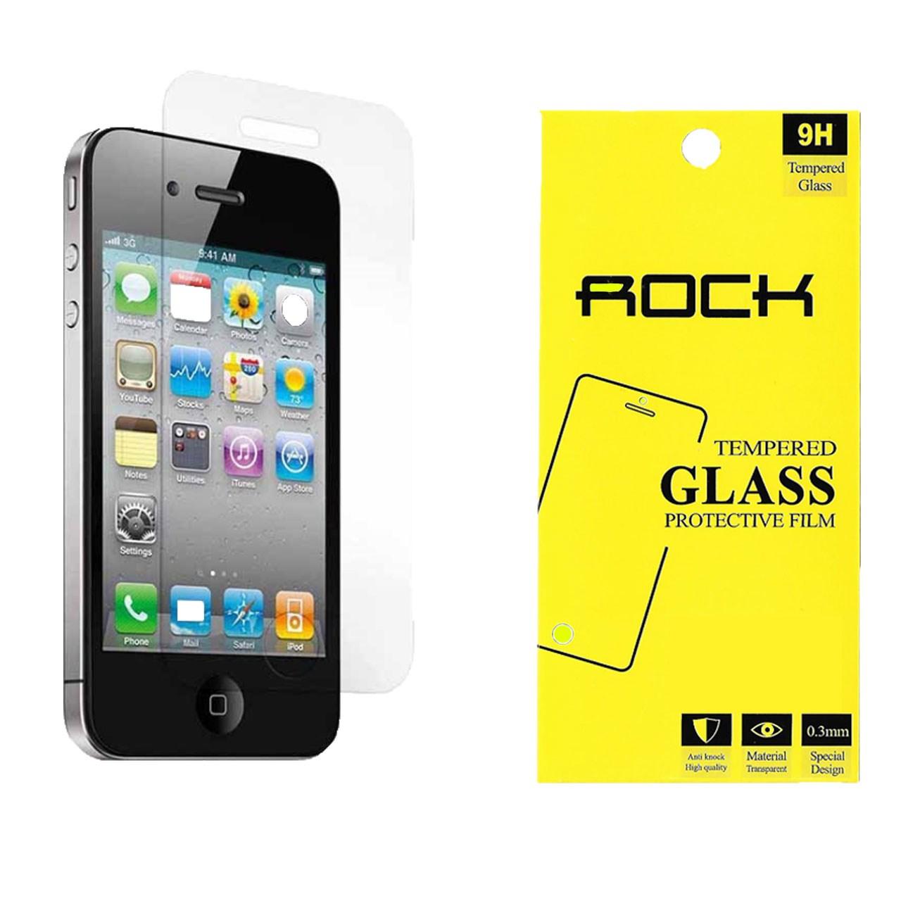 محافظ صفحه نمایش راک مدل 9H TEMPERED مناسب برای گوشی موبایل آیفون4/4s