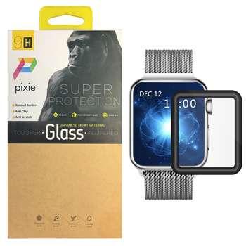 محافظ صفحه نمایش تمام چسب شیشه ای پیکسی  مدل 3D  مناسب اپل واچ سایز 38 میلی متر