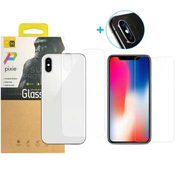 محافظ صفحه نمایش و پشت و لنز تمام چسب شیشه ای تمپرد پیکسی مدل Clear  مناسب برای گوشی اپل آیفون X