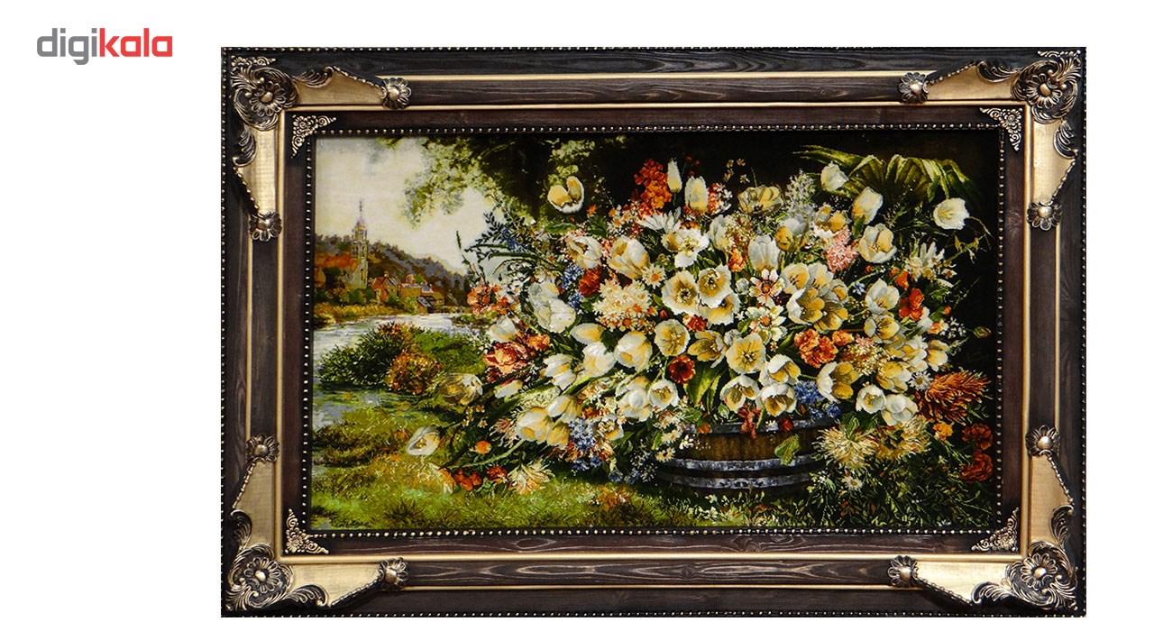 تابلو فرش دستباف آنافرش طرح گل چای کنار کد 11160