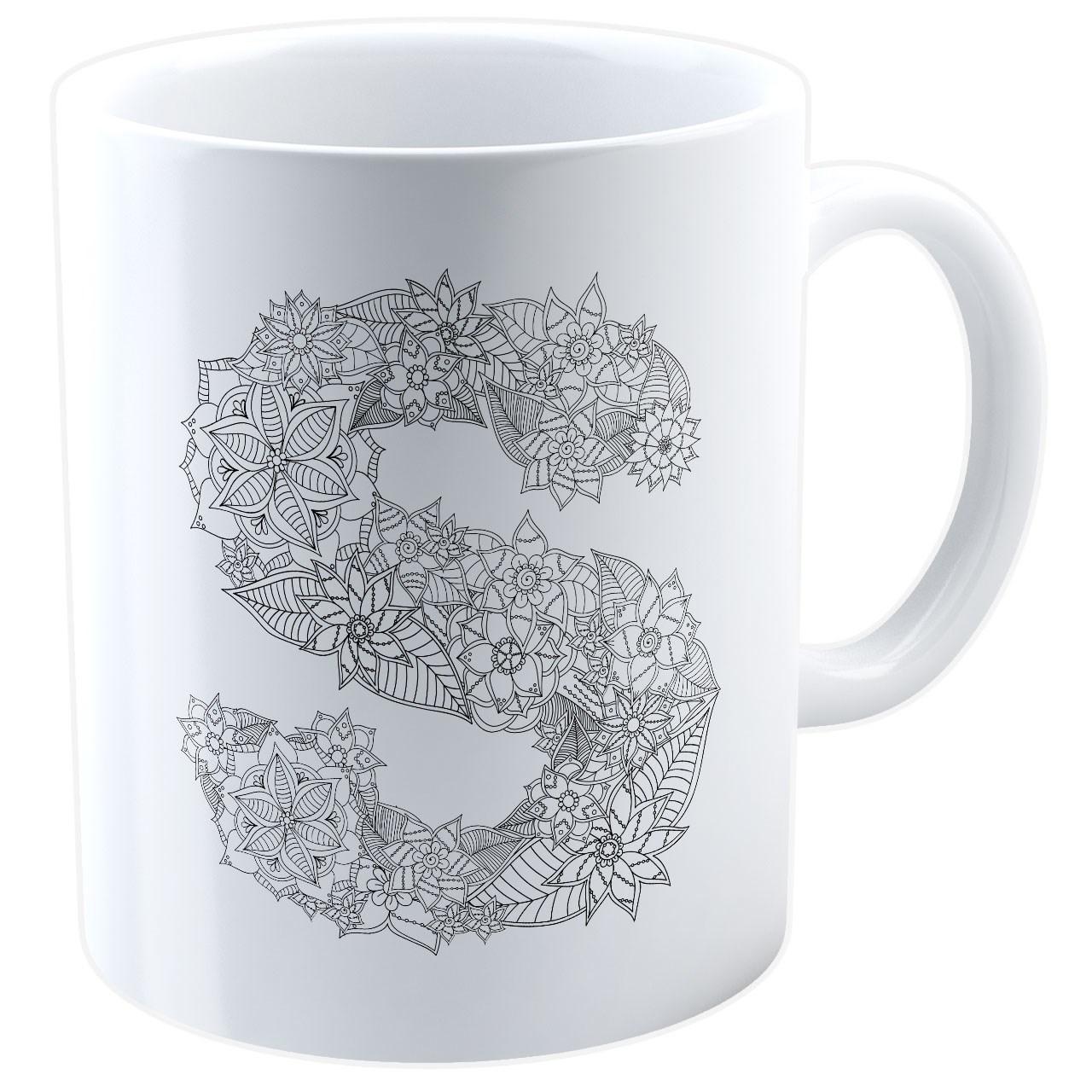 ماگ شین دیزاین طرح حروف اول اسم S کد 4062