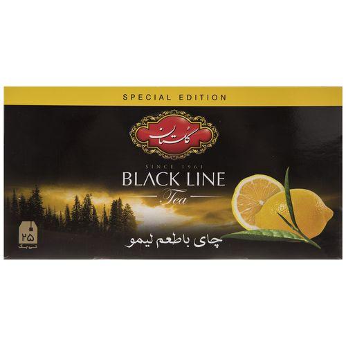 چای سیاه کیسه ای گلستان با طعم لیمو پک 25 عددی