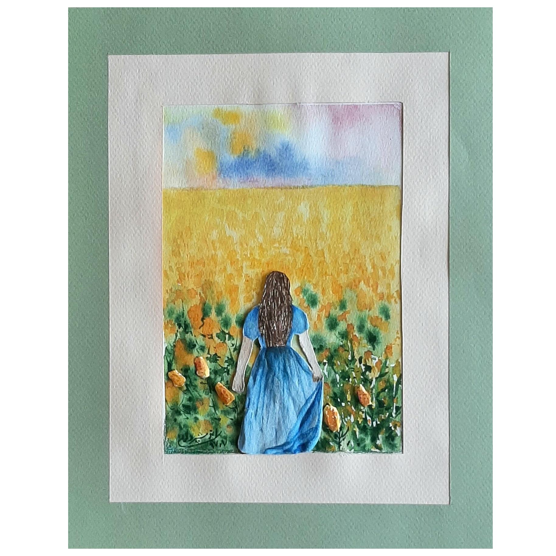تابلو نقاشی آبرنگ طرح دختردر باغ گلها