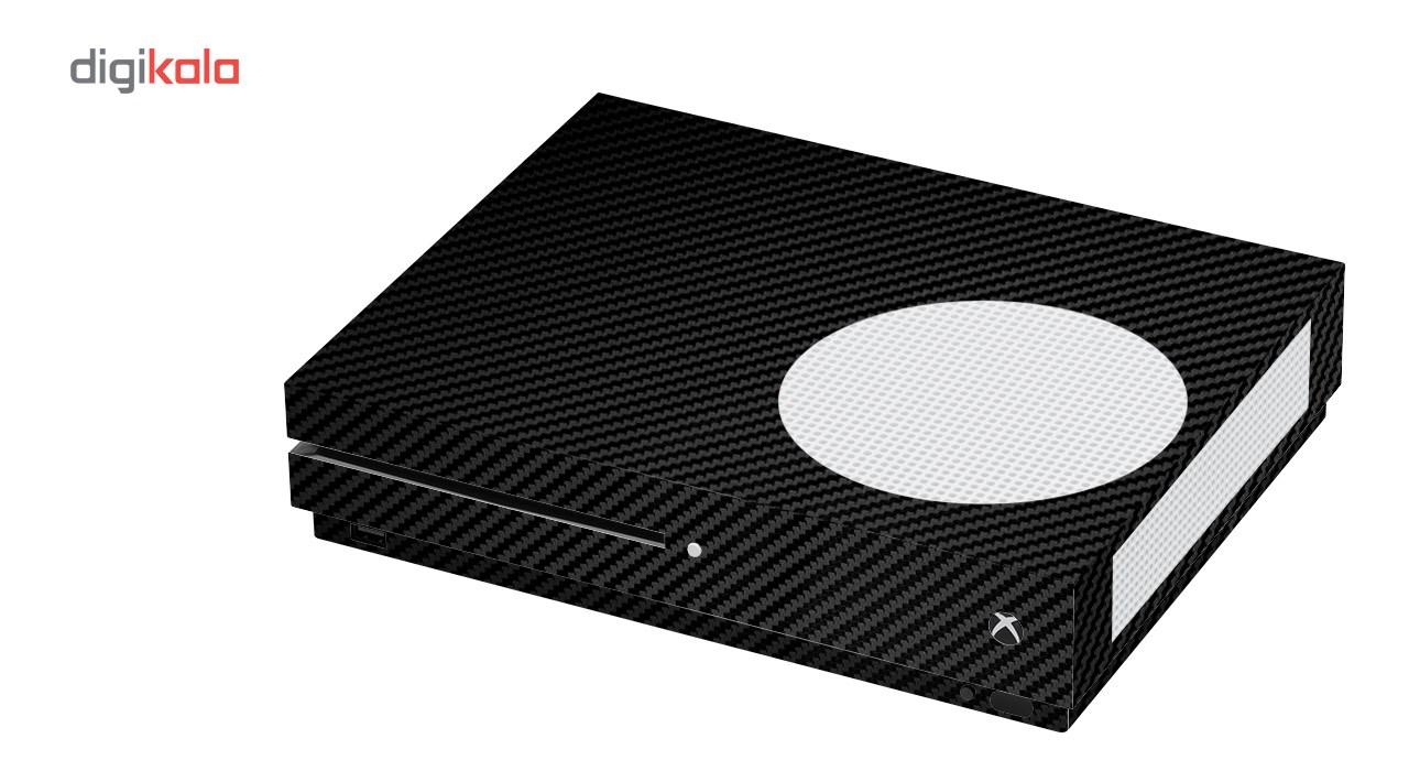 برچسب ماهوت مدلBlack Carbon-fiber Texture مناسب برای کنسول بازی Xbox One S