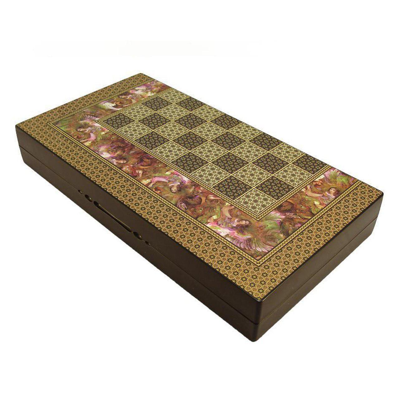 صفحه شطرنج و تخته نرد گالری نفیس طرح خاتم مینیاتور طول 50 سانتیمتر