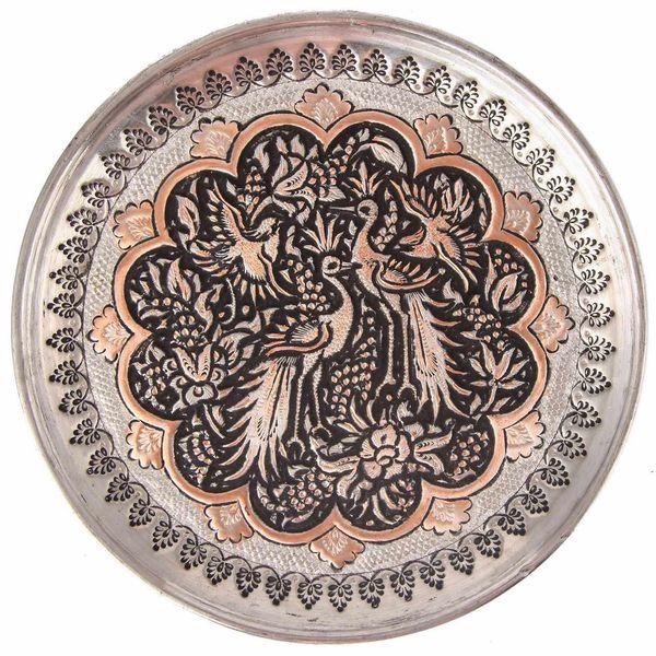 بشقاب قلمزنی طرح گل و مرغ گالری مثالین کد 149014
