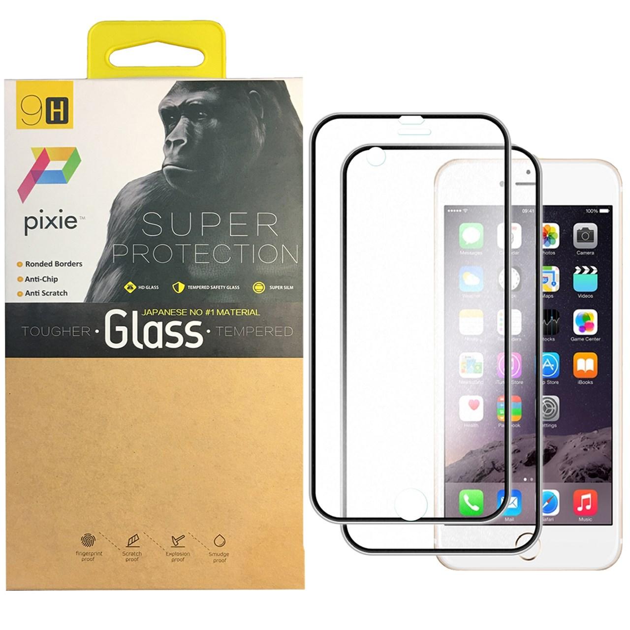 محافظ صفحه نمایش تمام چسب شیشه ای پشت و جلوی  پیکسی مدل Titanium مناسب برای گوشی اپل آیفون 8