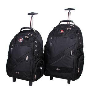 مجموعه دو عددی کوله پشتی چرخدار مدرن کیف پارسیان مدل Swiss