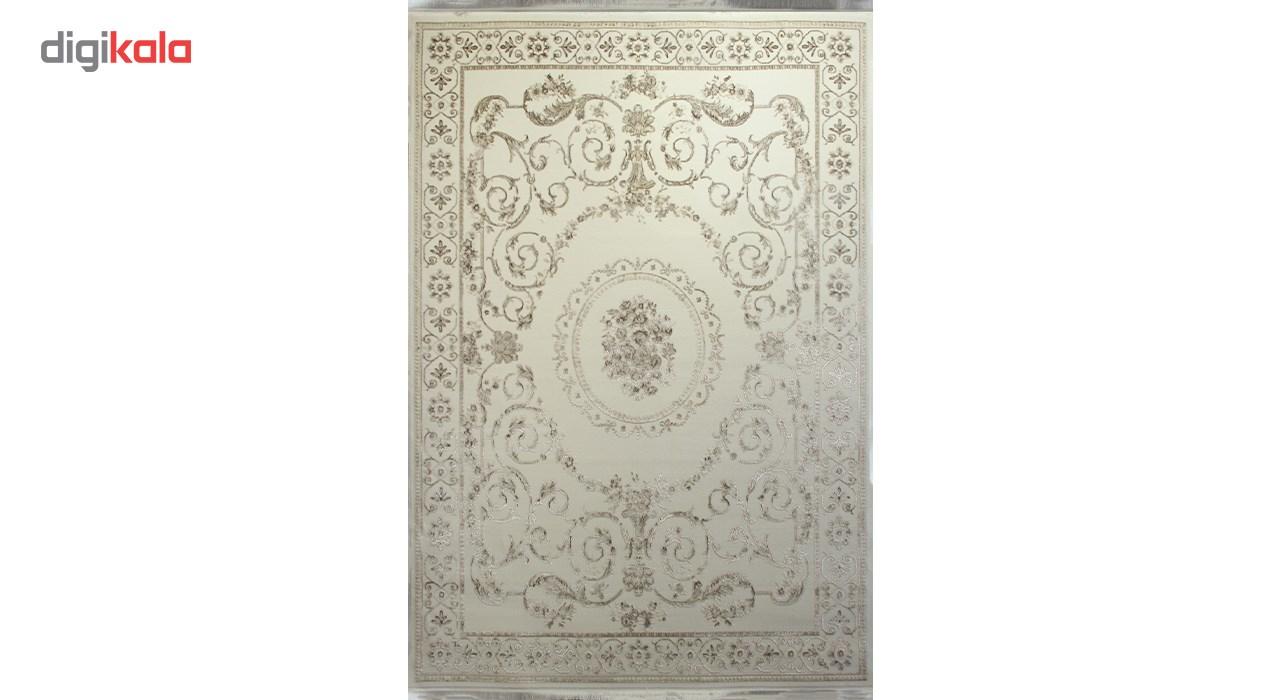 فرش ماشینی زمرد مشهد طرح 1906 زمینه کرم