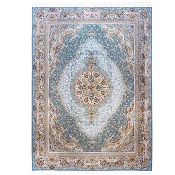 فرش ماشینی احتشامیه گل برجسته طرح مانی زمینه آبی طوسی