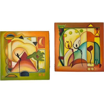 Photo of تابلو نقاشی گالری بارسین طرح مدرن مجموعه دو عددی