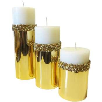 شمع استوانه 3 عددی طرح سنگی