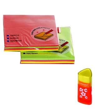 کاغذ یادداشت چسب دار  مدل ترنم بسته 2  عددی  به همراه یک عدد پاکن تراش Picasso