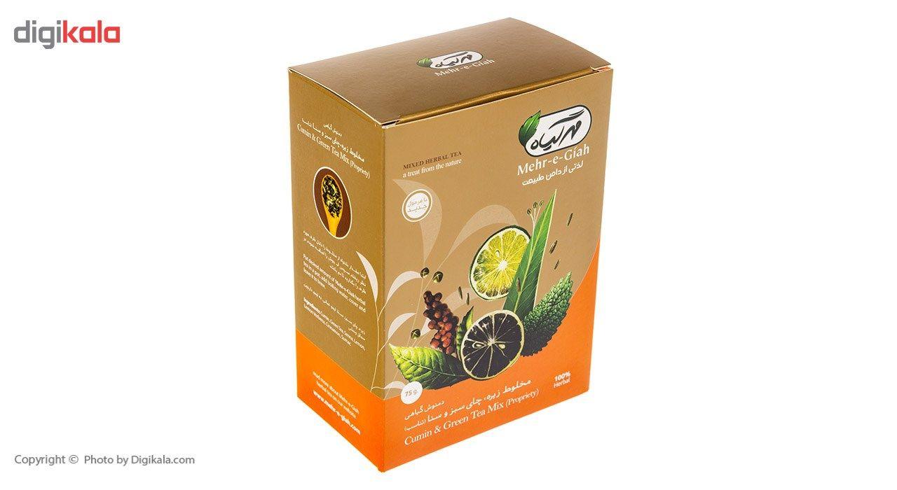 دمنوش گیاهی مخلوط زیره، چای سبز و سنا مهرگیاه مقدار 75 گرم main 1 2