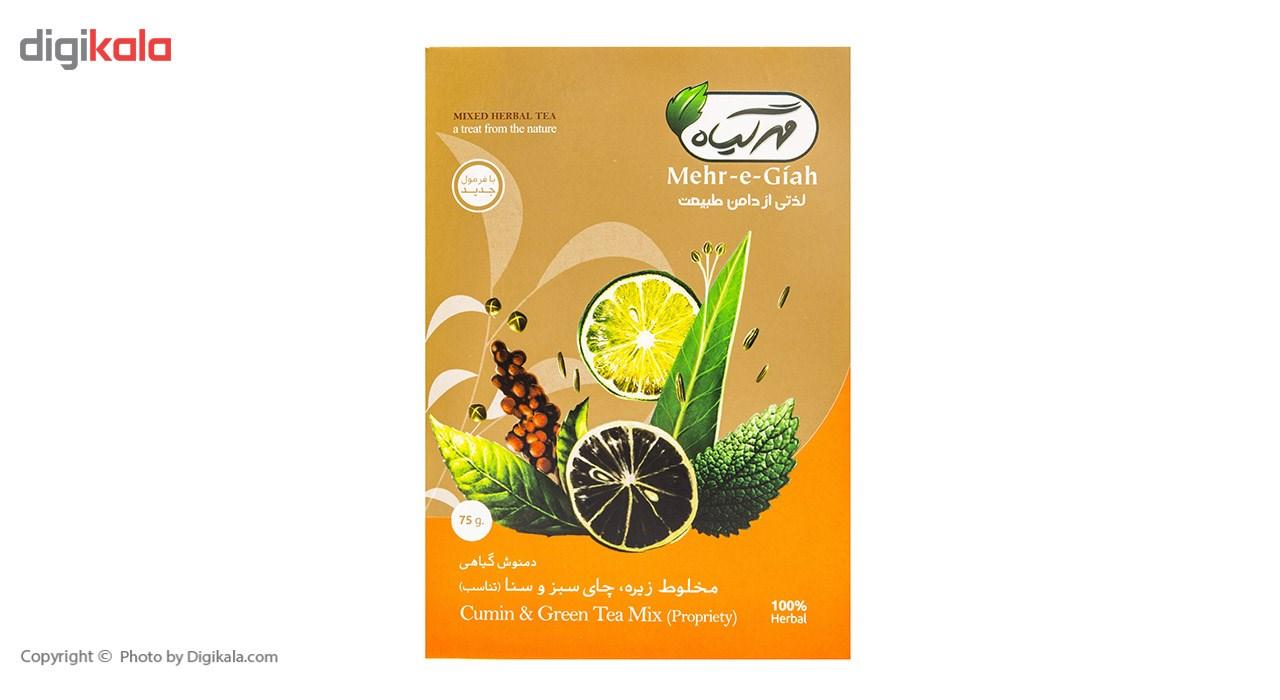 دمنوش گیاهی مخلوط زیره، چای سبز و سنا مهرگیاه مقدار 75 گرم main 1 3