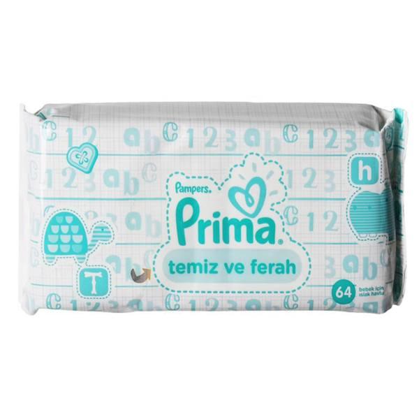 دستمال مرطوب کودک پریما مدل temiz ve ferah  بسته 64 عددی
