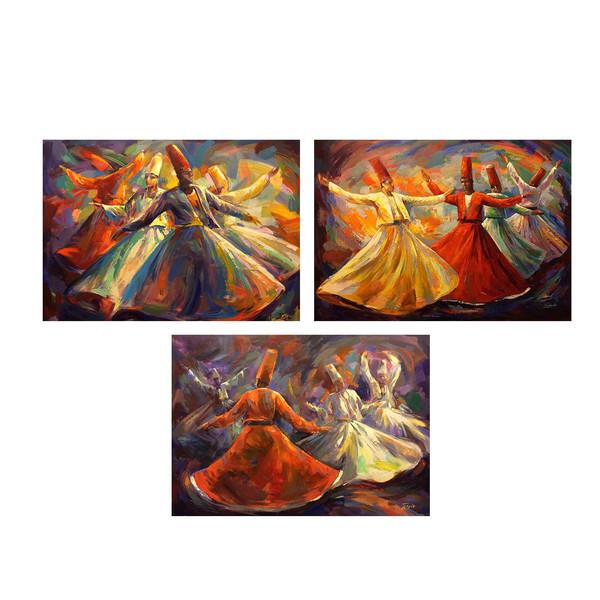 تابلو 3 تکه چاپ سی طرح معروف ترین نقاشی های جهان کد MA135