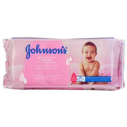 دستمال مرطوب و پاک کننده کودک جانسون مدل gentle all over بسته 56 عددی