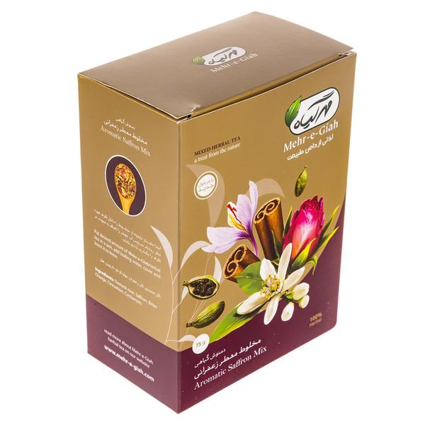 دمنوش گیاهی مخلوط معطر زعفرانی مهرگیاه مقدار 75 گرم