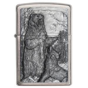 فندک زیپو مدل 29636  Bear VS Wolf