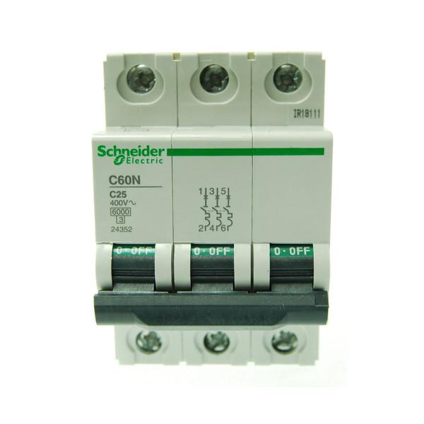 بسته 4 عددی فیوز مینیاتوری سه پل 25  آمپر  اشنایدر الکتریک سری  C60N مدل24352