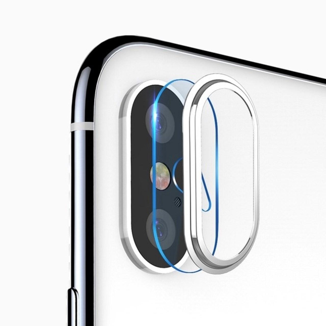 محافظ لنز دوربین شیشه ای کوتتسی مدل تمپردبه همراه حلقه محافظ مناسب برای گوشی موبایل اپل آیفون X