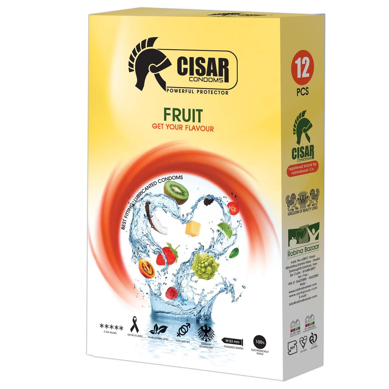 کاندوم سزار مدل Fruit بسته 12 عددی