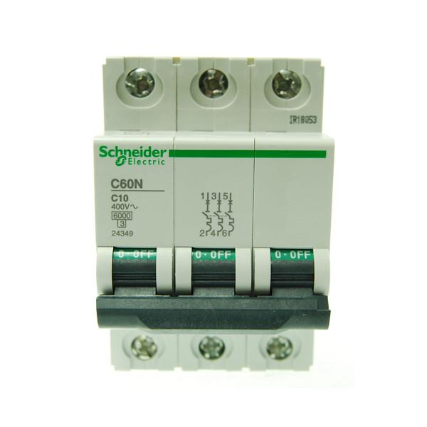 بسته 4 عددی فیوز مینیاتوری سه پل 10 آمپر  اشنایدر الکتریک سری  C60N مدل24349
