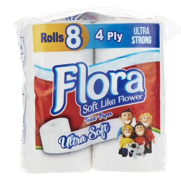 دستمال توالت فلورا بسته 8 عددی