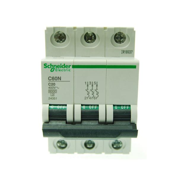 بسته 4 عددی فیوز مینیاتوری سه پل 20 آمپر اشنایدر الکتریک سری  C60N مدل24351